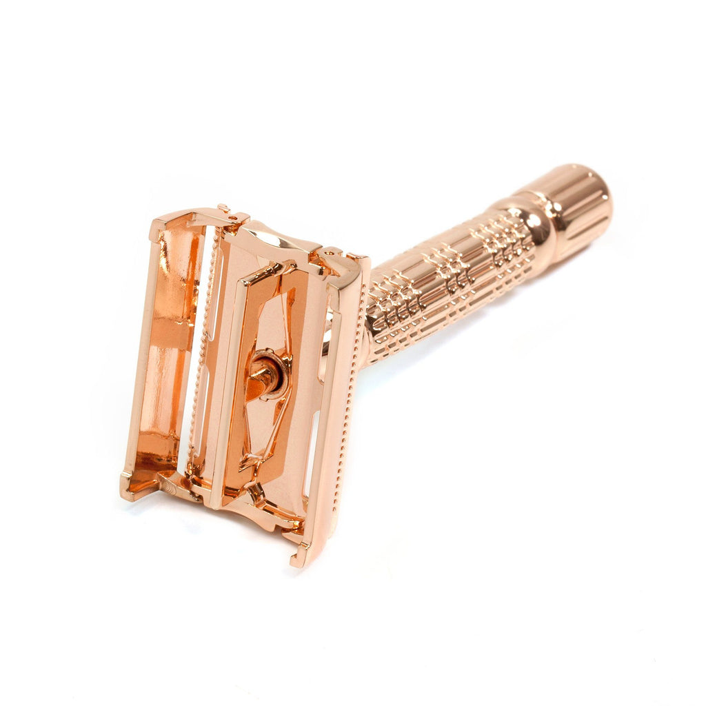 BAILI Butterfly Razor Travel Set with Case, Rose Gold Double Edge Safety Razor BAILI