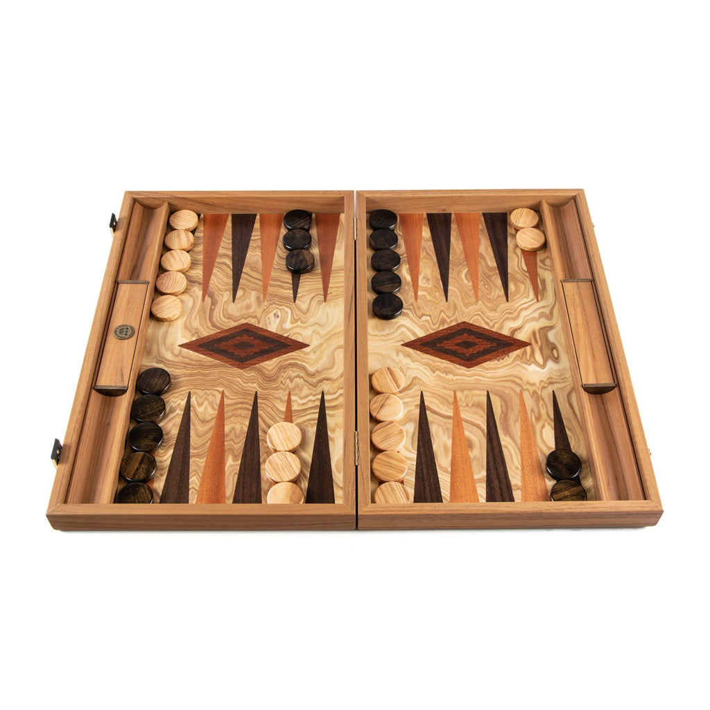 Manopoulos Handmade Premium Backgammon Set Backgammon Manopoulos Olive Burl Wood with Wenge and Mahogany Wood Points