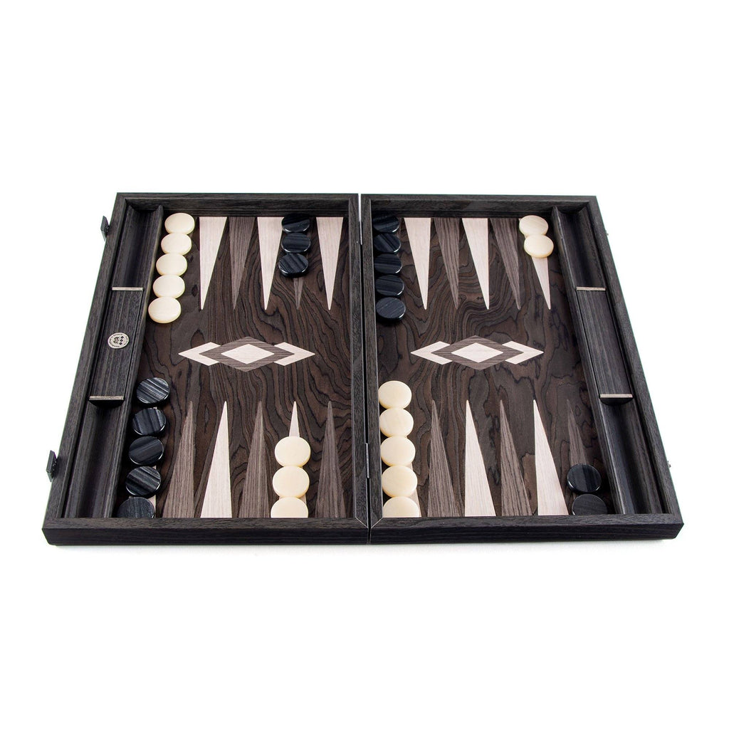 Manopoulos Handmade Premium Backgammon Set Backgammon Manopoulos Ebony Pearl with Grey and Oak Points