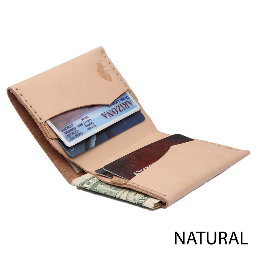 Ezra Arthur No. 4 Wallet in Choice of Natural Leather or Chromexcel Leather by Horween, Chicago Leather Wallet Ezra Arthur Natural
