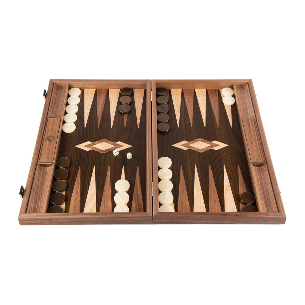 Manopoulos Handmade Premium Backgammon Set Backgammon Manopoulos Walnut Natural Tree Trunk with Wenge and Oak Wood Points