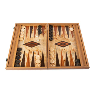 Manopoulos Handmade Premium Backgammon Set Backgammon Manopoulos Lupo Burl with Wenge and Mahogany Wood Points