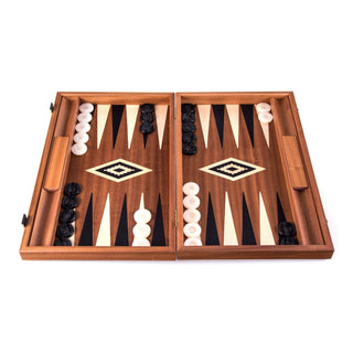 Manopoulos Handmade Classic Backgammon Set Board Game Manopoulos Mahogany Backgammon with Black & Oak Points with Side Racks