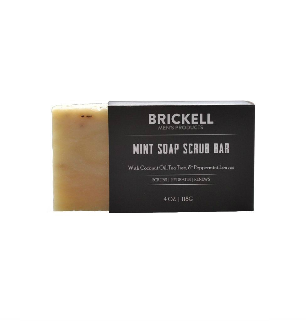 Brickell Soap Scrub Bar, Mint Body Soap Brickell