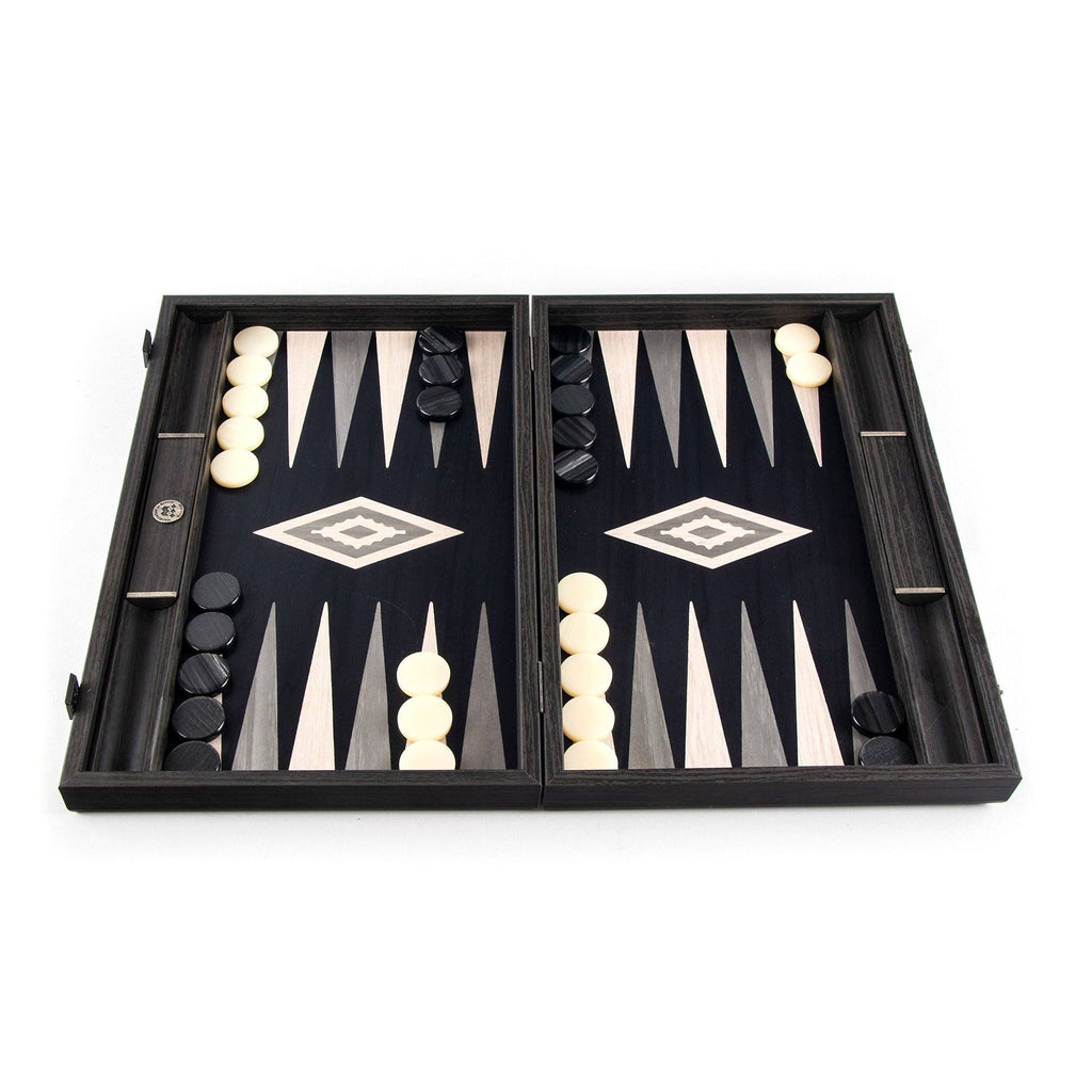 Manopoulos Handmade Premium Backgammon Set Backgammon Manopoulos Pearly Grey Vavona with Light Grey and Grey Points