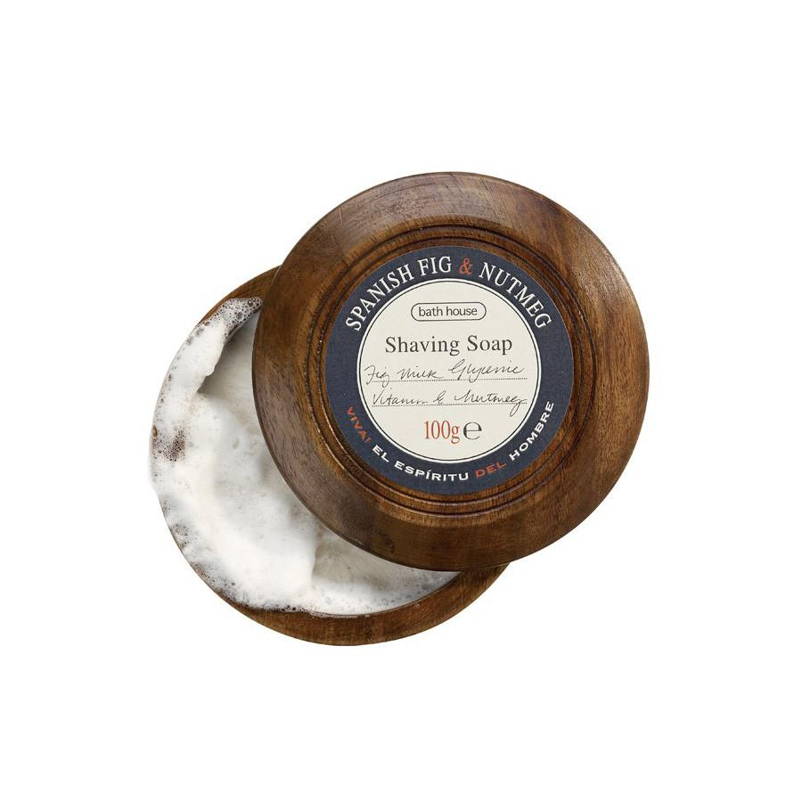 Bath House Shave Soap in Wooden Bowl Shaving Soap Bath House