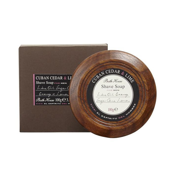 Bath House Shave Soap in Wooden Bowl Shaving Soap Bath House Cedar & Lime