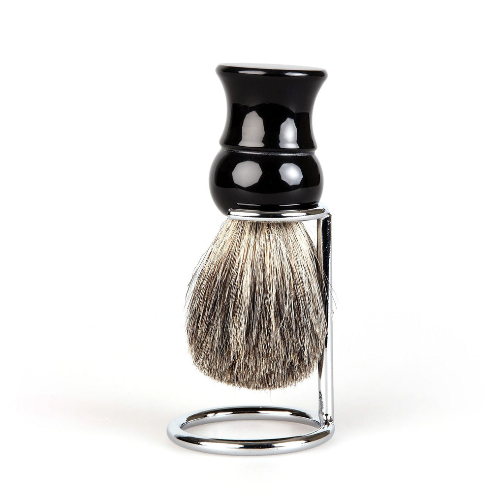 Fendrihan Pure Badger Shaving Brush, Black Handle Badger Bristles Shaving Brush Fendrihan Brush & Stand