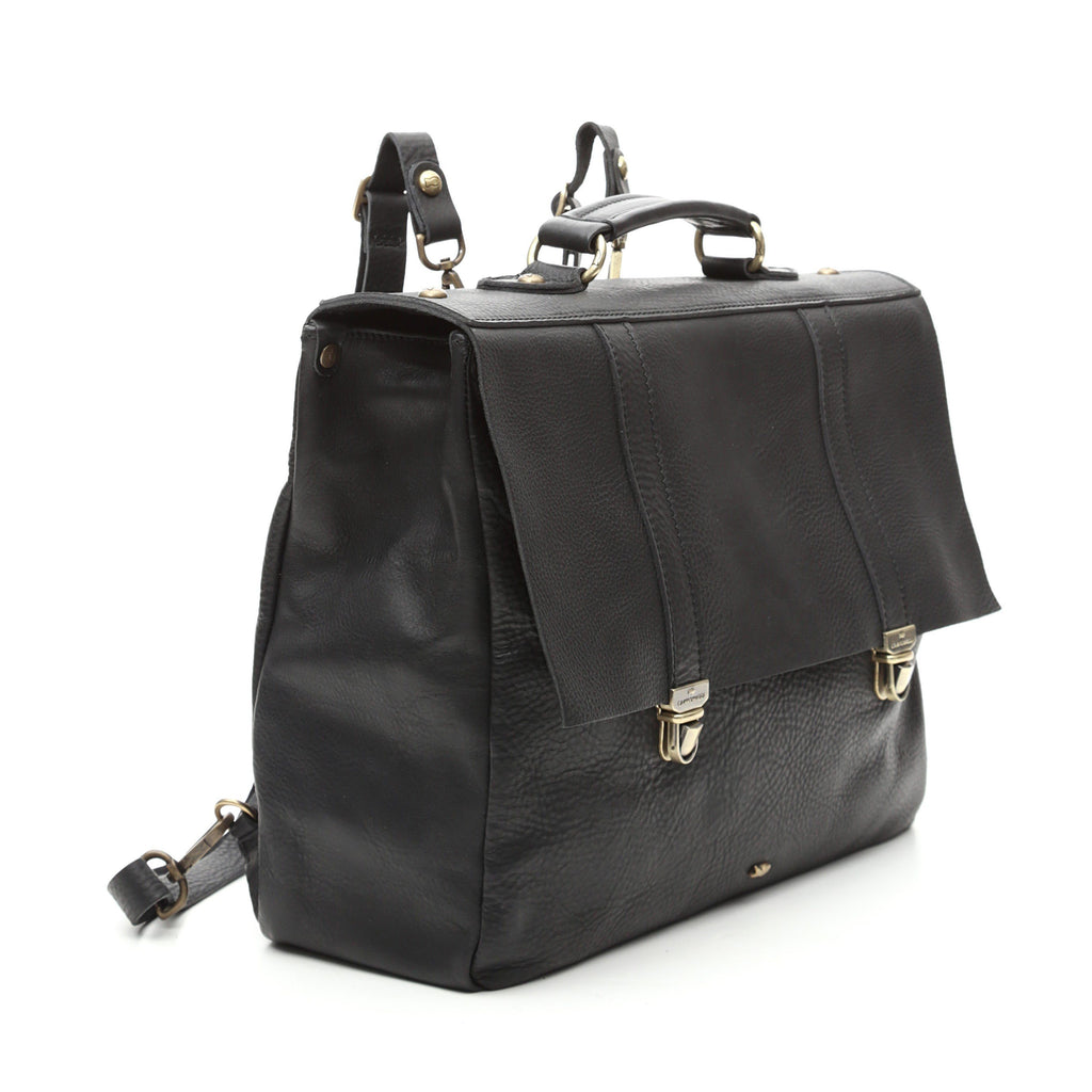Campomaggi C8400 Leather Briefcase Backpack, Black
