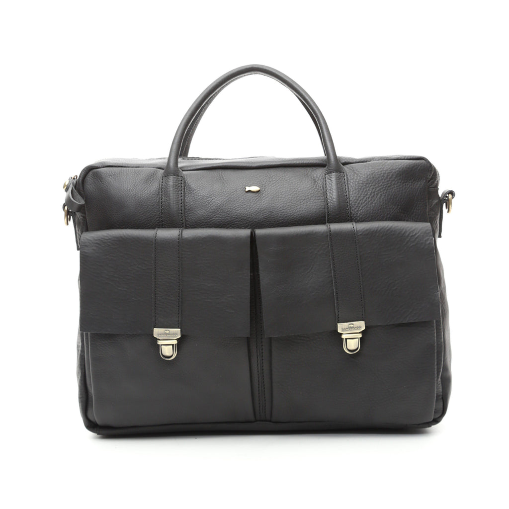 Campomaggi C1042 Leather Professional Bag, Black Leather Bag Campomaggi