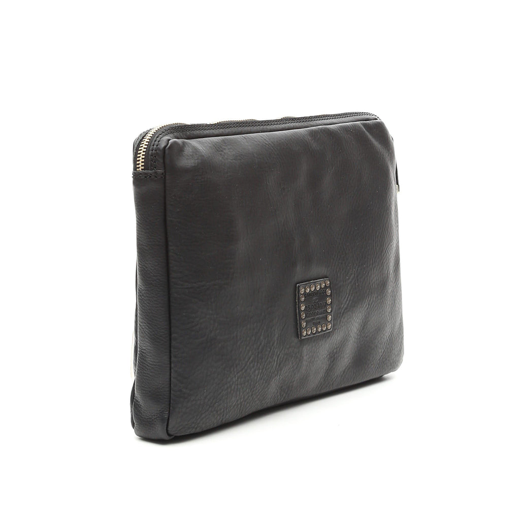 Campomaggi C1082 Flat Leather Pouch, Black Leather Document Pouch Campomaggi