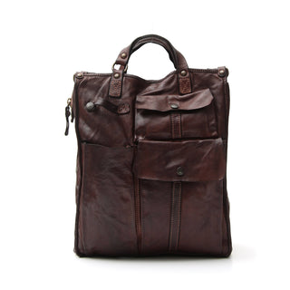 Campomaggi C1900 Large Shopper Leather Bag, Dark Brown Leather Messenger Bag Campomaggi