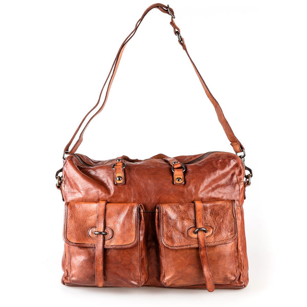 Campomaggi C3050 Italian Leather Messenger Bag, Cognac