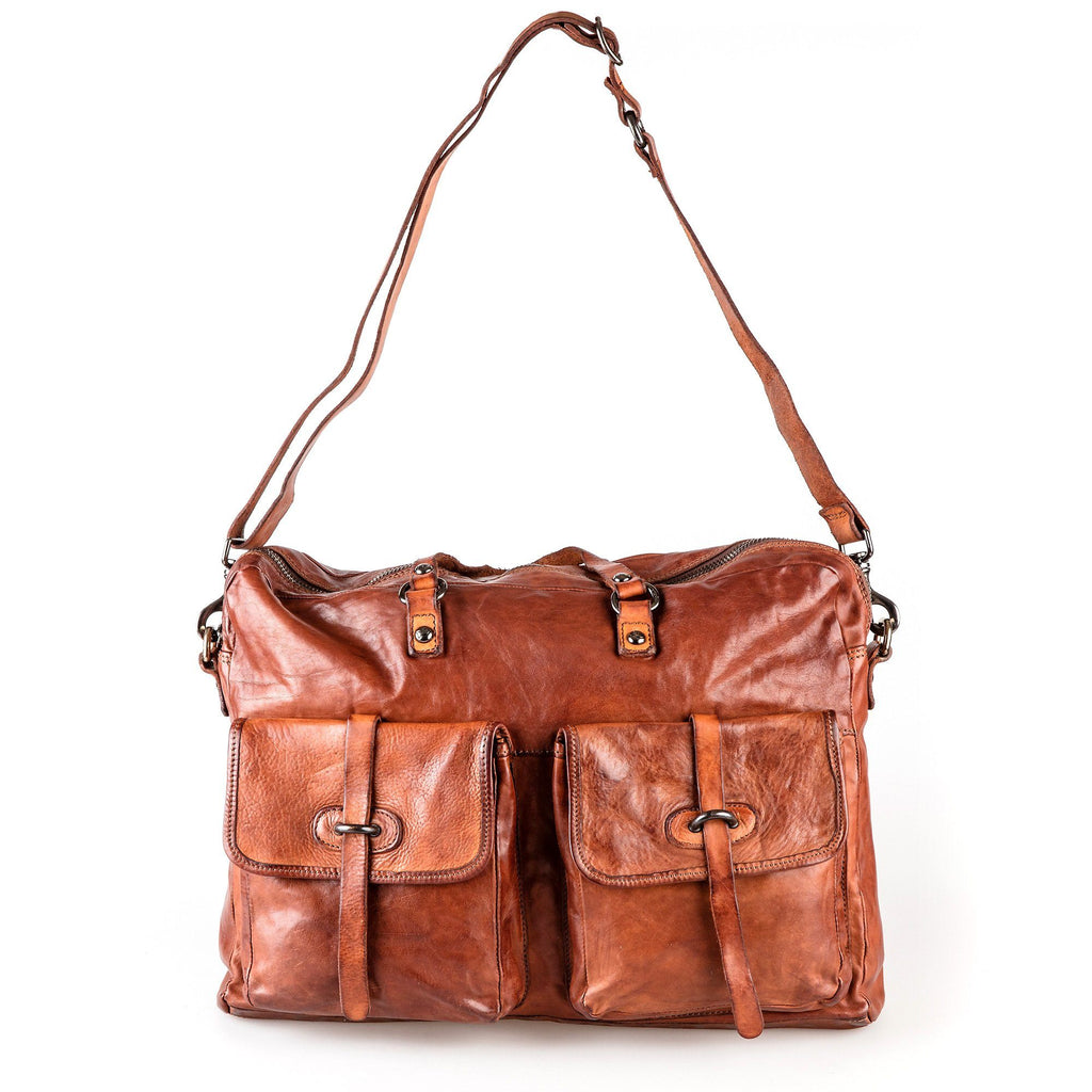 Campomaggi C3050 Italian Leather Messenger Bag, Cognac Leather Messenger Bag Campomaggi