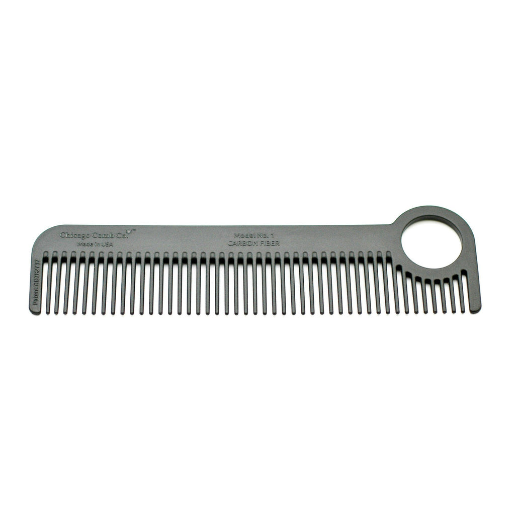 Chicago Comb Co. Model No. 1 Carbon Fiber Medium-Fine Tooth Comb