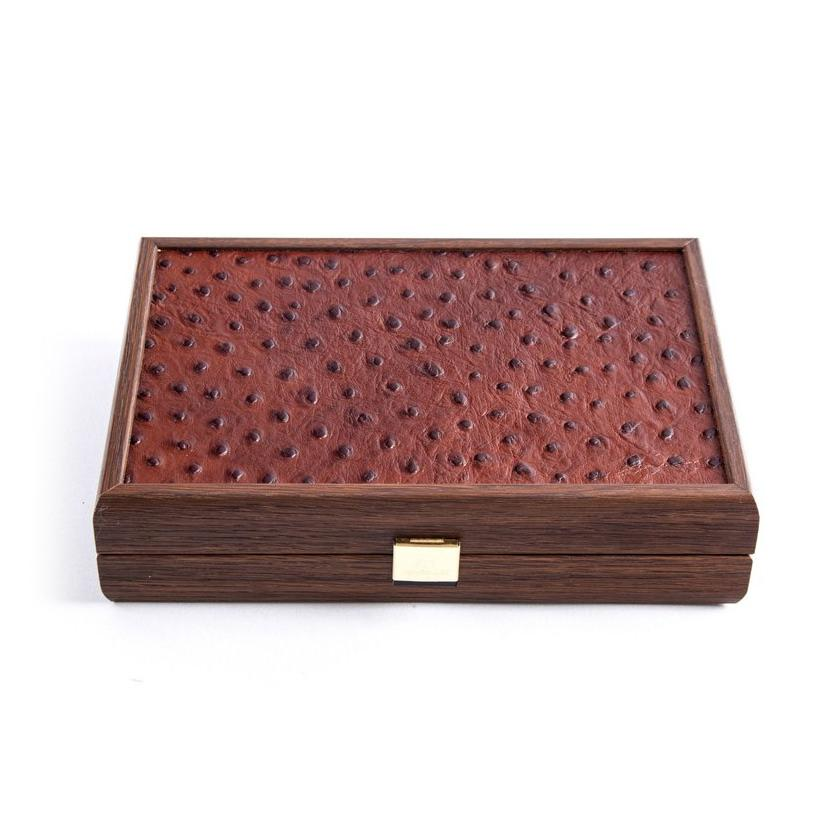 Manopoulos Plastic Covered Playing Cards in Brown Leather Ostrich Wooden Case Board Game Manopoulos