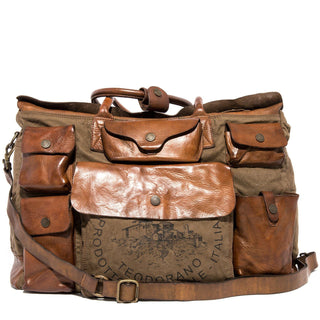Campomaggi Travel Bag, Leather and Fabric with Teodorano Print Travel Bag Campomaggi Cognac