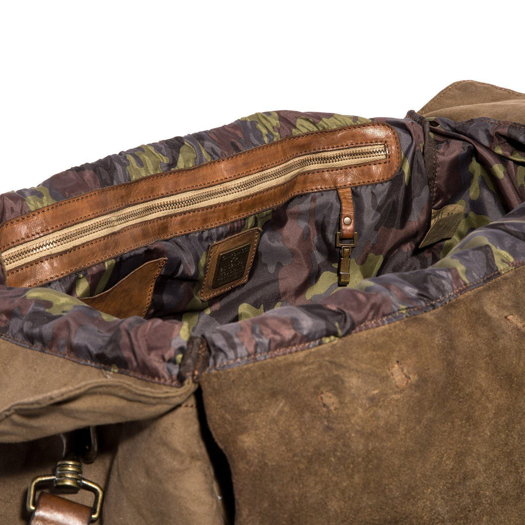 Campomaggi Travel Bag, Leather and Fabric with Teodorano Print Travel Bag Campomaggi