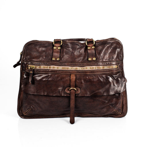 Campomaggi C1278 Italian Leather Messenger Bag, Dark Brown - Fendrihan Canada - 1