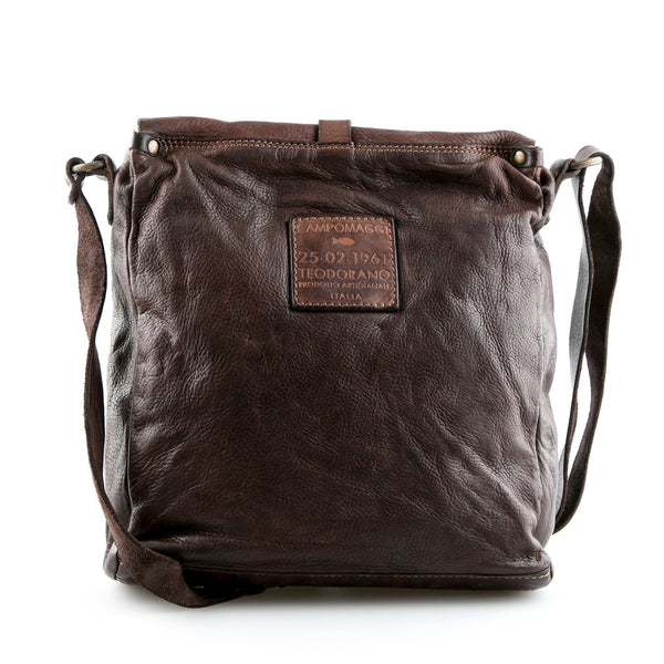 Campomaggi C0920 Italian Leather Shoulder Bag, Dark Brown
