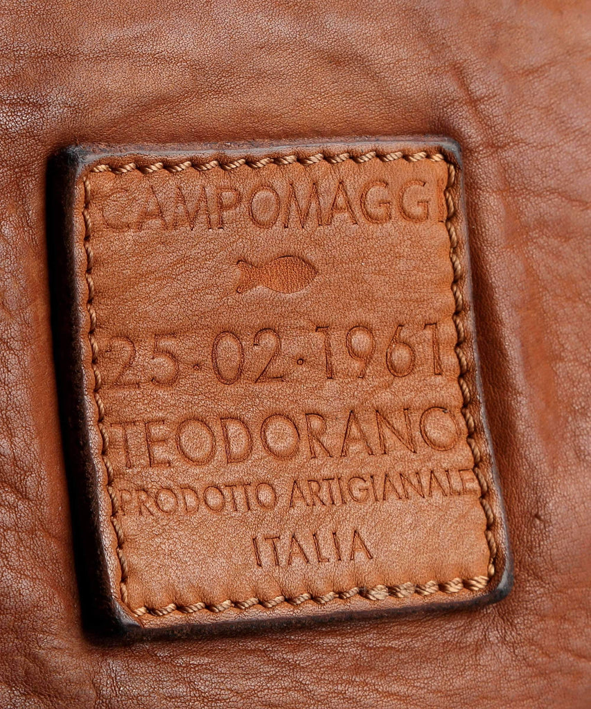 Campomaggi C6520 Crossbody Leather Bag, Cognac Leather Messenger Bag Campomaggi