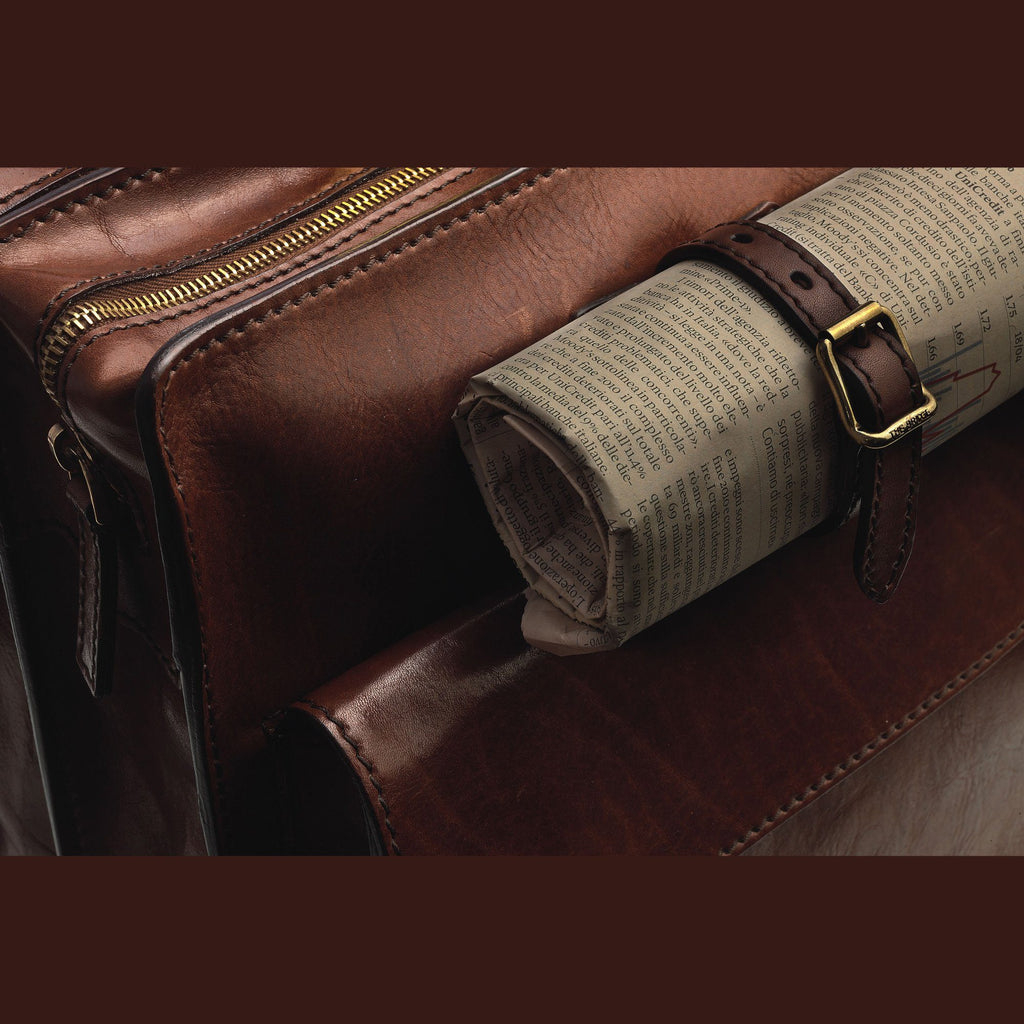 Campomaggi Italian Leather Messenger Bag, Cognac Leather Messenger Bag Campomaggi