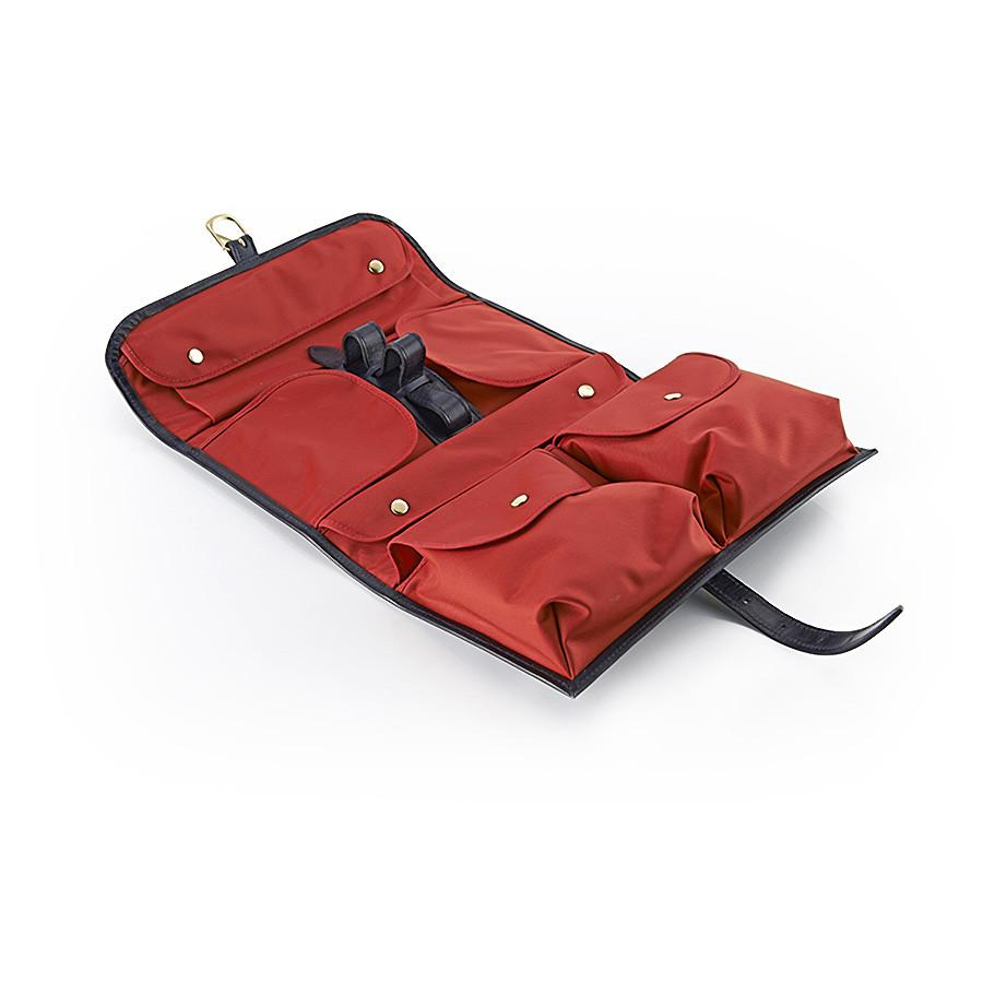 Daines & Hathaway Military Wet Pack, Navy Bridle Leather with Red Lining Grooming Travel Case Discontinued