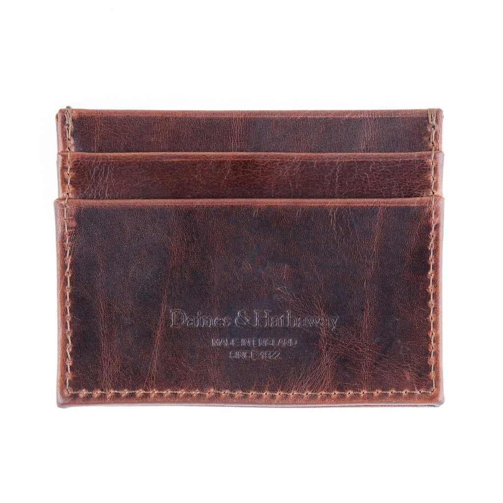 Daines & Hathaway Double Card Case, Brooklyn Chestnut Brown Leather Wallet Daines & Hathaway