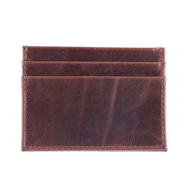 Daines & Hathaway Double Card Case, Brooklyn Chestnut Brown