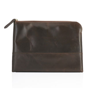 Daines & Hathaway Large Leather Pouch, Brooklyn Gunsmoke Leather Document Pouch Daines & Hathaway