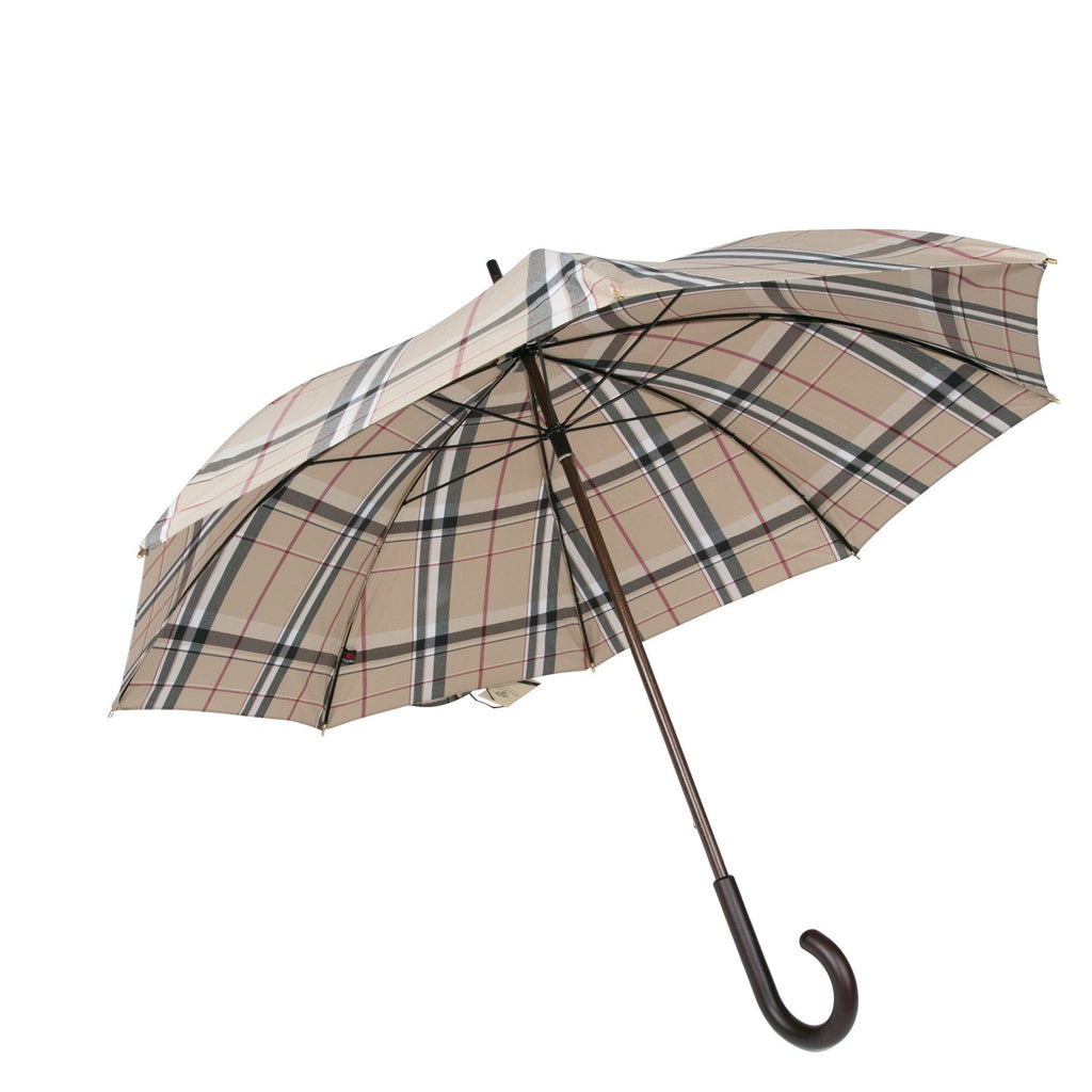 Doppler Rustika Indigo Gentlemen's Umbrella with Wooden Handle, Classic Tan Plaid