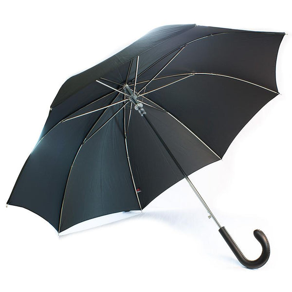 Doppler Oxford Diplomat Gentlemen's Umbrella with Milano Leather Handle, Black - Fendrihan Canada - 1