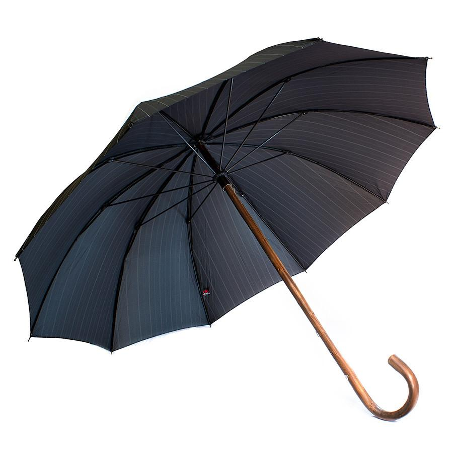Doppler Orion Gentlemen's Umbrella with Chestnut Handle, Pinstripes - Fendrihan Canada - 1
