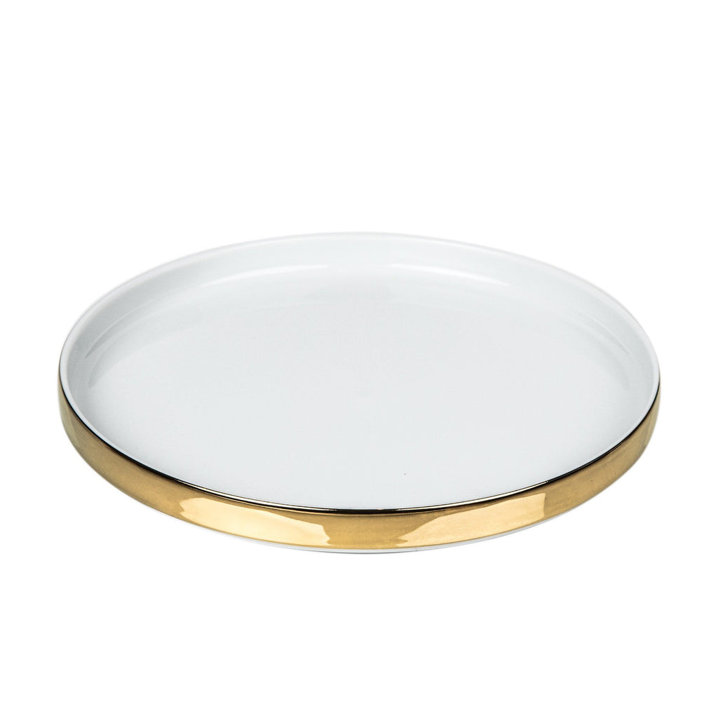 Decor Walther Porcelain White Multipurpose Tray, Gold or Platinum Multipurpose Tray Decor Walther Gold