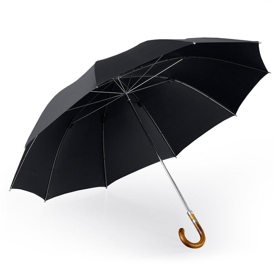 Brilliant Luxury Pure Silk Gentlemen's Umbrella, Metal Shaft and Acacia Wood Handle - Fendrihan Canada - 1