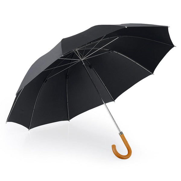 Brilliant Luxury Pure Silk Gentlemen's Umbrella, Metal Shaft and Malacca Wood Handle - Fendrihan Canada - 1