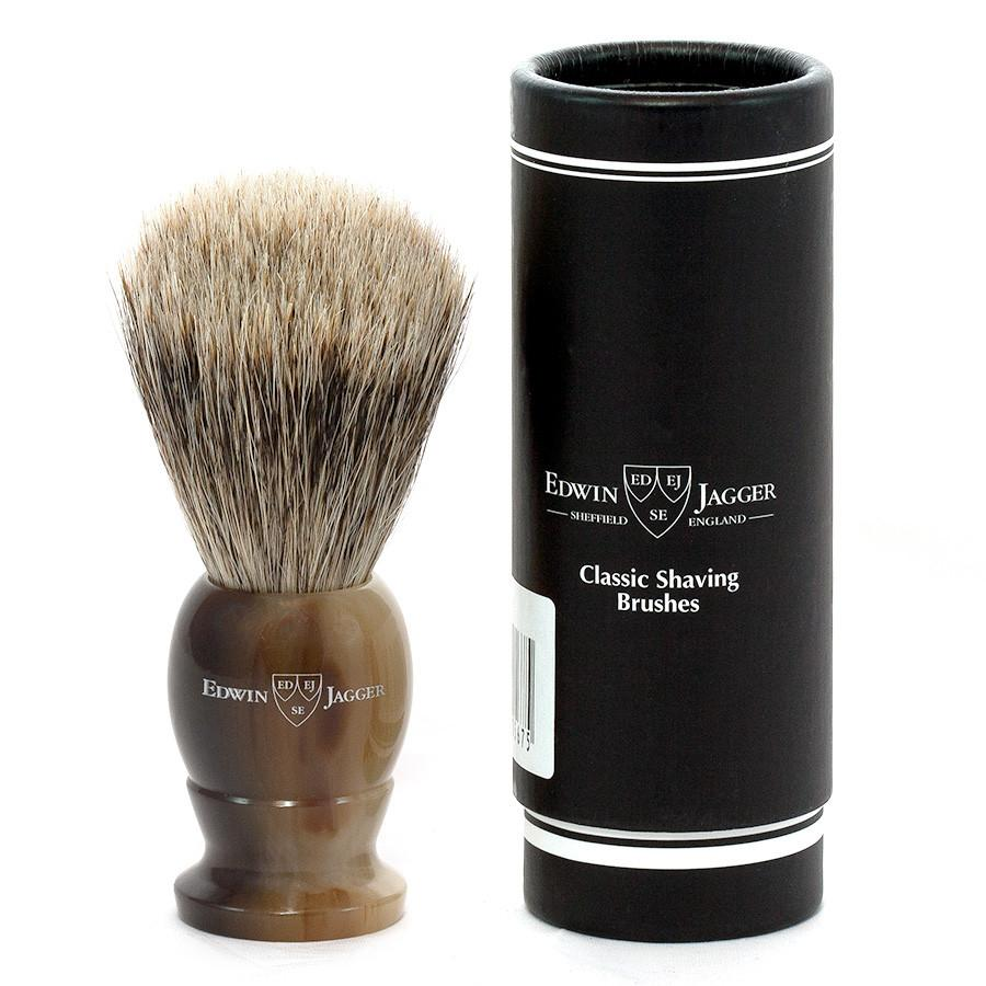 Edwin Jagger Best Badger Shaving Brush in Light Horn, Medium - Fendrihan Canada - 2