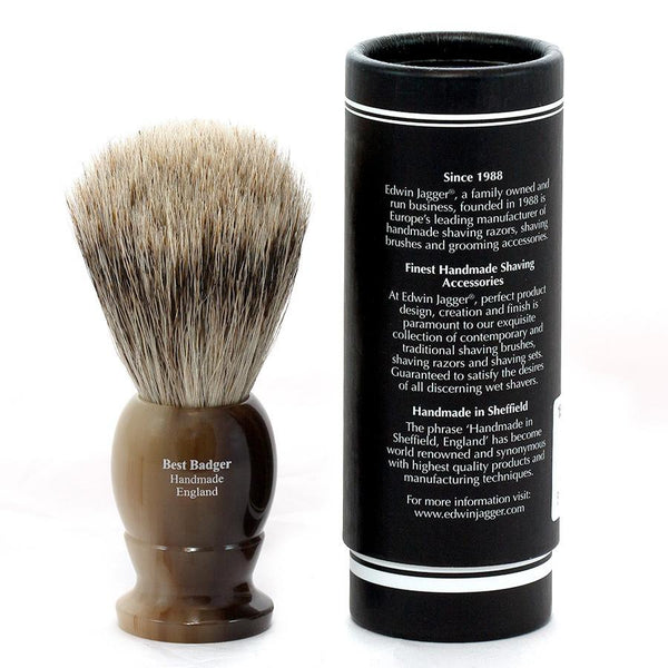 Edwin Jagger Best Badger Shaving Brush in Light Horn, Medium - Fendrihan Canada - 3