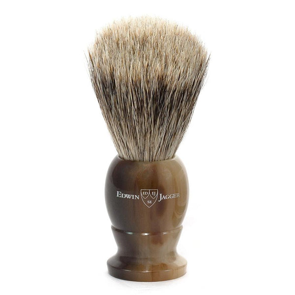 Edwin Jagger Best Badger Shaving Brush in Light Horn, Medium - Fendrihan Canada - 1