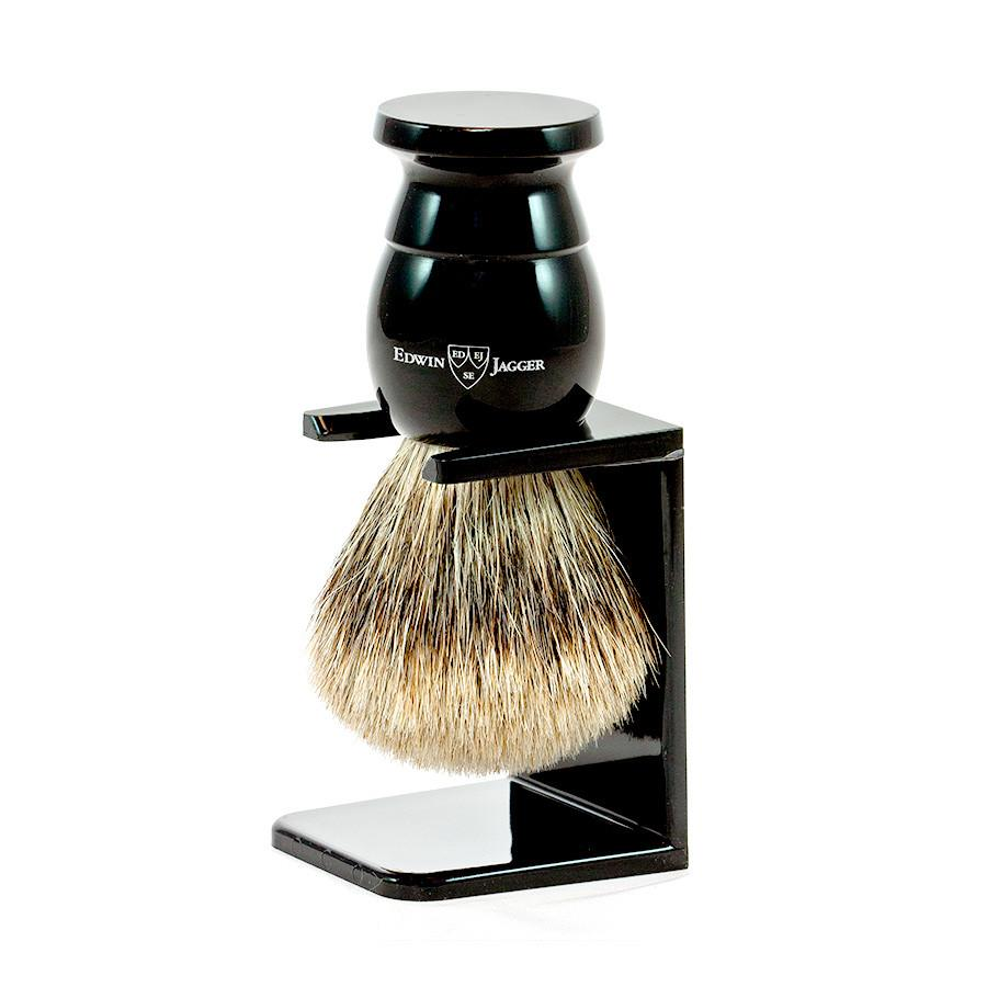 Edwin Jagger Best Badger Shaving Brush and Stand in Ebony, Medium Badger Bristles Shaving Brush Edwin Jagger