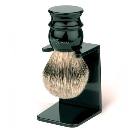 Edwin Jagger Silvertip Handmade English Shaving Brush and Stand in Ebony, Large - Fendrihan Canada - 1