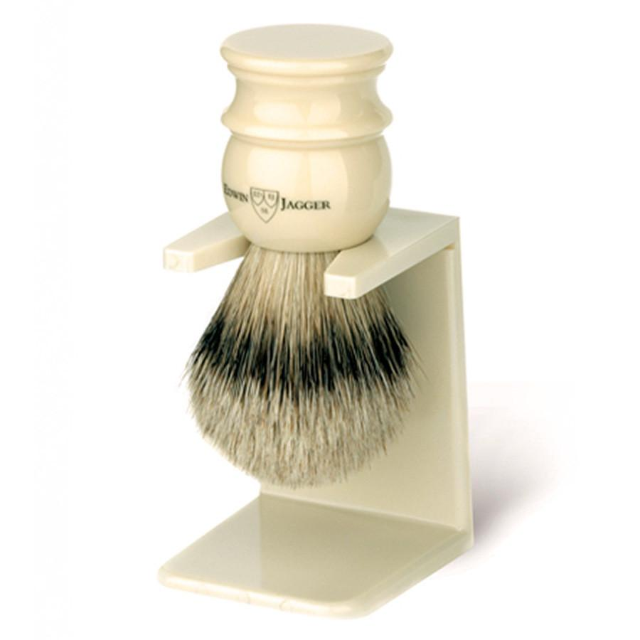 Edwin Jagger Silvertip Handmade English Shaving Brush and Stand in Ivory, Medium Badger Bristles Shaving Brush Edwin Jagger