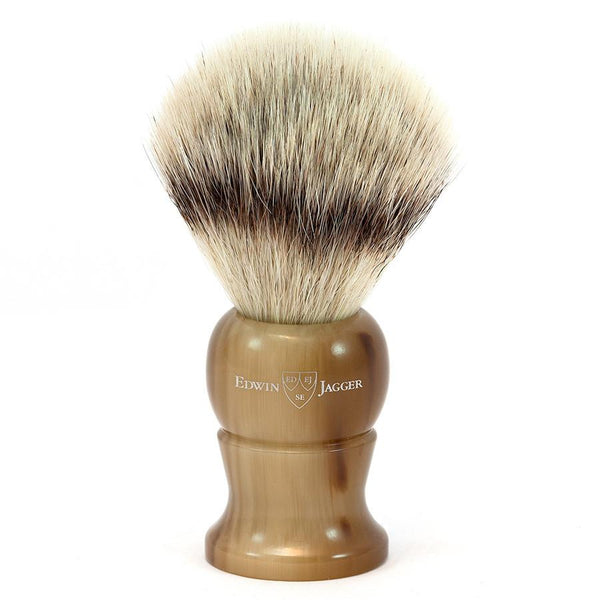 Edwin Jagger Synthetic Silvertip Fibre Handmade English Shaving Brush in Imitation Light Horn, Large - Fendrihan Canada - 1