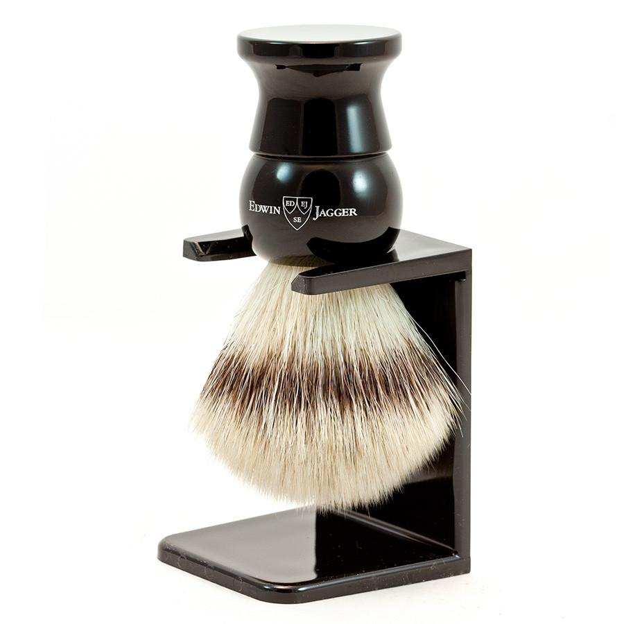 Edwin Jagger Synthetic Silvertip Fibre Handmade English Shaving Brush and Stand in Ebony, Large Synthetic Bristles Shaving Brush Edwin Jagger
