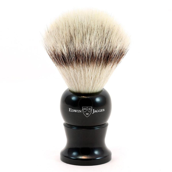 Edwin Jagger Synthetic Silvertip Fibre Handmade English Shaving Brush in Ebony, Large - Fendrihan Canada - 1