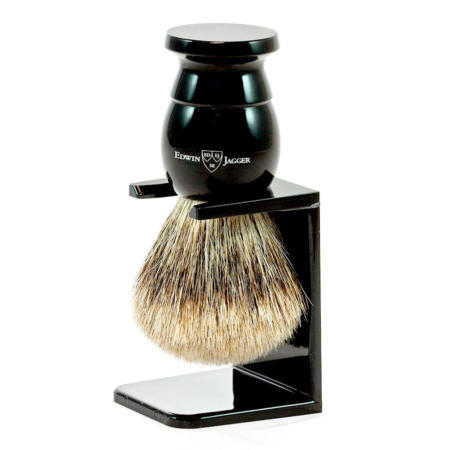 Edwin Jagger Best Badger Shaving Brush and Stand in Ebony, Extra Large - Fendrihan Canada - 1