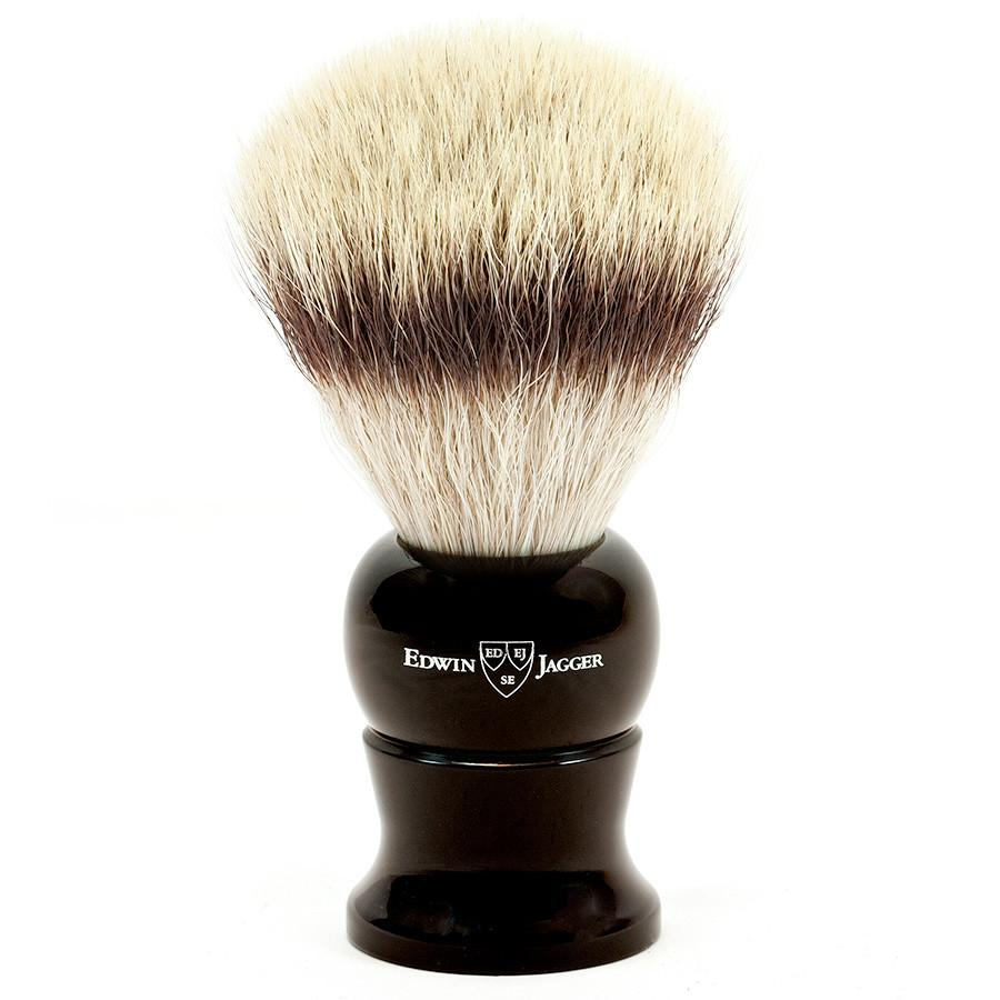 Edwin Jagger Synthetic Silvertip Fibre Handmade English Shaving Brush in Ebony, Extra Large Synthetic Bristles Shaving Brush Edwin Jagger