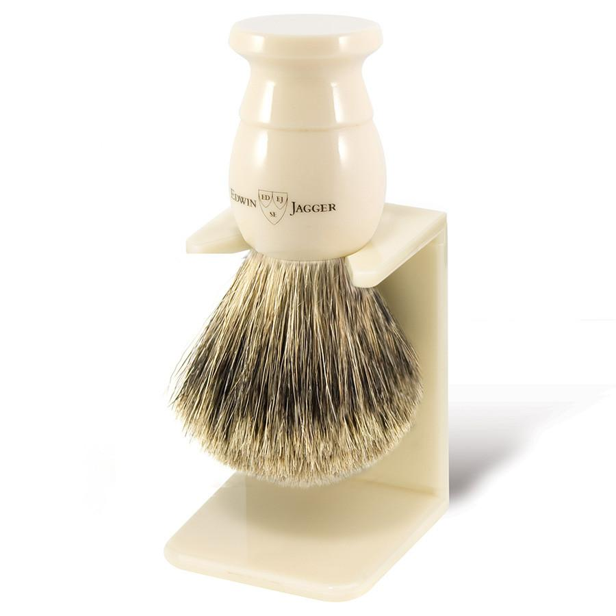 Edwin Jagger Best Badger Shaving Brush and Stand in Ivory, Medium - Fendrihan Canada