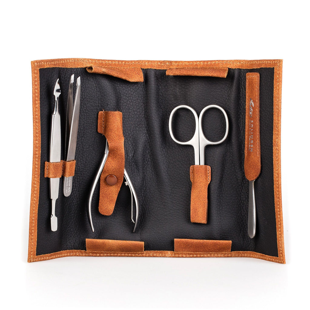 Erbe Solingen 5-Piece Manicure Set, Cognac Leather Roll Case