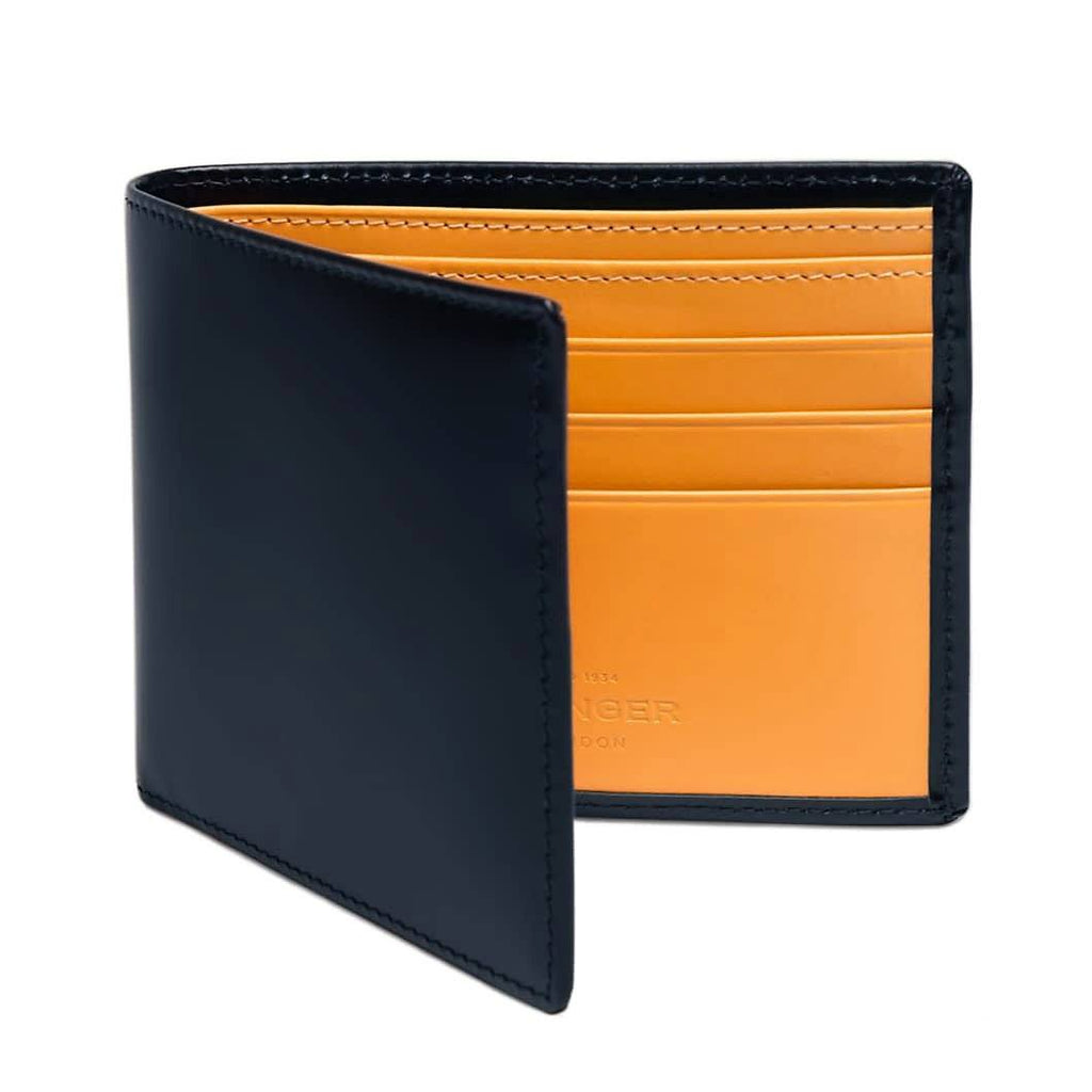 Ettinger Bridle Hide Billfold Leather Wallet with 6 CC Slots Leather Wallet Ettinger Navy